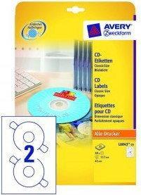 Avery Etykiety na płyty CD/DVD Zweckform białe matowe classicsize 117 mm, 2 etyk