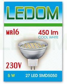 Ledom Żarówka 27 LED MR16 SMD5050 230V 5W BZ 245367