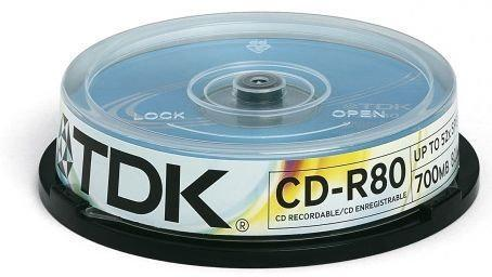 TDK cd-r 700mb/80min 52x (Szpula, 10 cd-r80cba10, t19539, cd-r80cba10-b