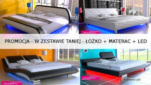 Estilo W komplecie taniej!!! Łóżko do sypialni Stilo-2 Led + materac 120x200 cm
