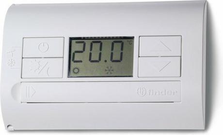 Finder Termostat elektroniczny niebieski-metaliczny, wyświetlacz LCD dzień/noc,