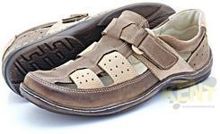Kent 213 BRĄZ - Nowoczesne sandały męskie skórzane zapinane na rzep