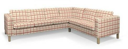 Dekoria Pokrowiec na sofę narożną lewostronną Karlanda, ecru tło, czerwona kratk