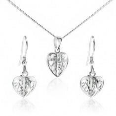 Biżuteria e-shop Zestaw ze srebra 925 - naszyjnik i kolczyki, wycinane serca