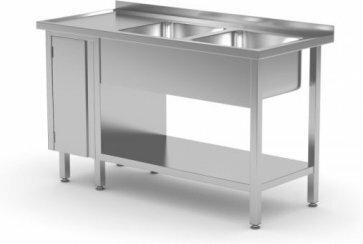 Polgast Stół nierdzewny z dwoma zlewami, półką i szafką z drzwiami na zawiasach