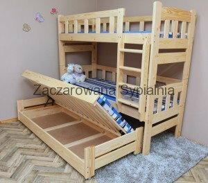 Zaczarowana Sypialnia Łóżko piętrowe TAPCZAN GÓRAL sosna pod materace 80x200 (2) i 80x190 (1), bez materacy