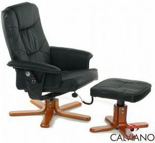Calviano Fotel z masażem + puff z masażem - czarny