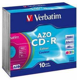 Verbatim Płyty CD-R 700MB 52x Colour (slim 10 szt.) 43308