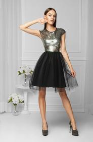 Monnom boutique Sukienka tiulowa srebrna