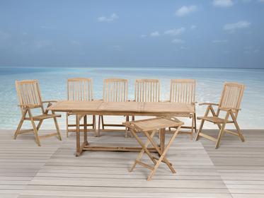 Beliani Meble ogrodowe drewno - stól, 6 krzesel, stolik - RIVIERA brazowy