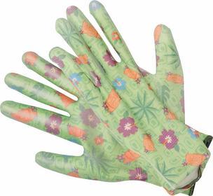 Flo Rękawice ogrodnicze kwiatki - zielone 74135