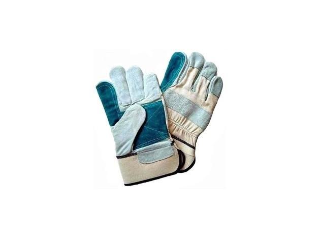 Rękawice z tkaniny wzmacniane dwoiną bydlęcą. Wzmocnienie dłoni, kciuka i palca wskazującego naszytym dodatkowo kolorowym kawałkiem dwoiny