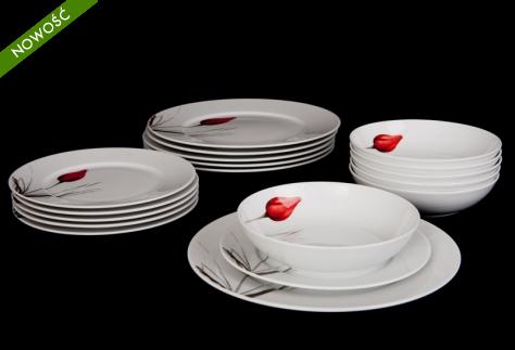 W skład zestawu wchodzą:  6 x talerz obiadowy 6 x talerz do zupy 6 x talerz deserowy