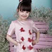 Sukienka pudrowy róż z motylkami