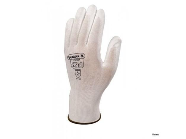 Rękawica dziana z poliestru (100%), bezszwowa. Powłoka poliuretanowa na chwytnej stronie dłoni i na końcach palców