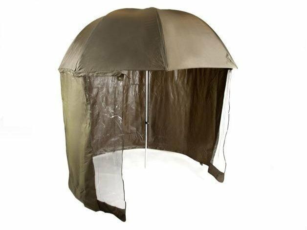 Wytrzymały i wodooporny parasol o średnicy 2,5m wraz ze ściankami dopinanymi na zamek błyskawiczny.
