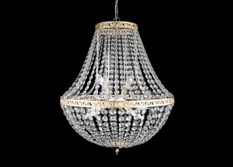 Materiał: metal, kryształ Kolor: srebrny, złoty Ilość źródeł światła: 3 Żarówka/napięcie/moc: 3*E14/230V/3*40W
