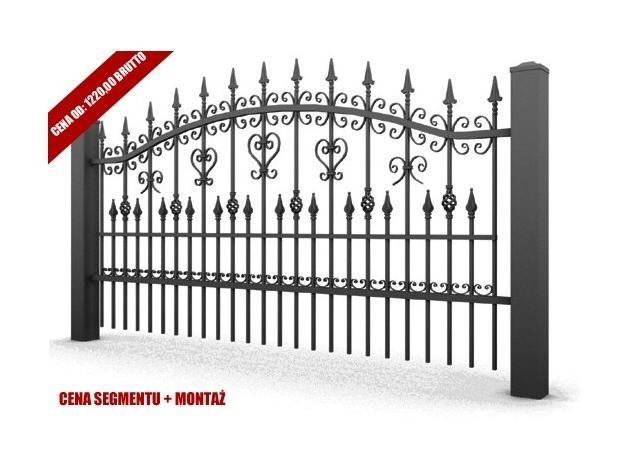 Segment ogrodzeniowy ocynkowany o wymiarach 2500x1200. Wzór AW 10.31