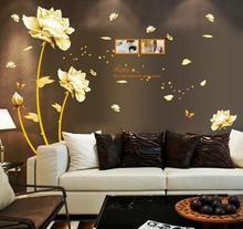 Naklejki na ścianę Złote Kwiaty