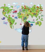 Naklejki na ścianę Mapa Świata dla dzieci