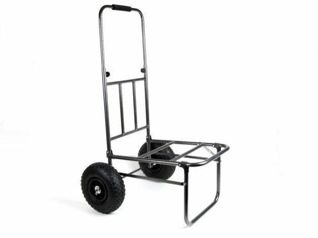 Niedrogi, kompaktowy wózek wędkarski X2, wyposazony w szerokie pompowane koła oraz mocną ramę.
