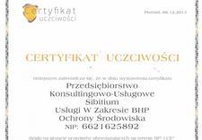 Sibitium BHP - certyfikat