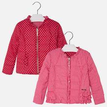 Dwustronna kurtka z falbankami dla dziewczynki
