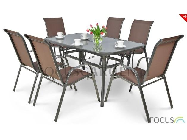 Komplet składa się z 6 komfortowych krzeseł wykończonych estetyczną tkaniną Textiline oraz funkcjonalnego stołu z otworem na parasol