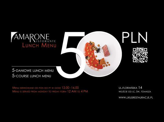 Codziennie zapraszamy na nowe 5-daniowe lunch menu tylko za 50 PLN. Menu serwowane jest w godzinach 12.00 – 16.00