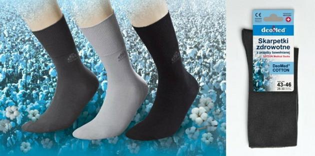 Bezuciskowe skarpety zdrowotne z przędzy bawełnianej DeoMed Cotton