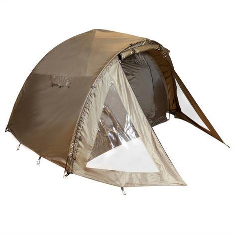 Trwały i wodoodporny dwuosobowy namiot wędkarski. Stelaże z włókna szklanego.