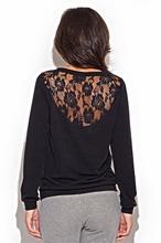 Stylowy sweter z koronkową wstawką na plecach.