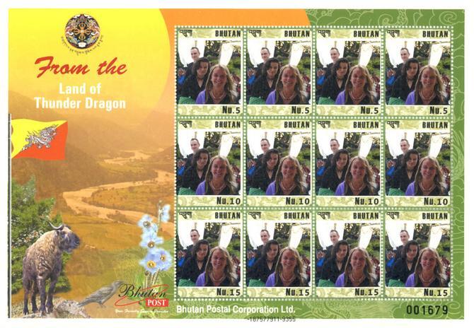 Viola Śpiechowicz na znaczkach pocztowych Bhutanu (fot. archiwum prywatne projektantki)