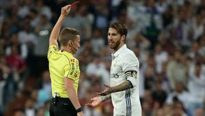 Real Madrid's Sergio Ramos is shown a red card by referee Alejandro Hernandez