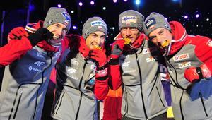 Mistrzostwa swiata w narciarstwie klasycznym 2017 - Ceremonia medalowa konkursu druzynowego w skokach narciarskich