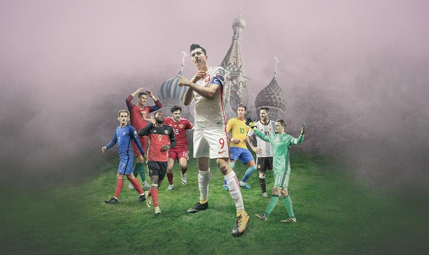 Robert Lewandowski, Cristiano Ronaldo, Leo Messi, Neymar, Manuel Neuer, Antoine Griezmann, Romelu Lukaku, Jurij Żyrkow