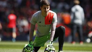 Liverpool's Kamil Grabara during the warm up before the match