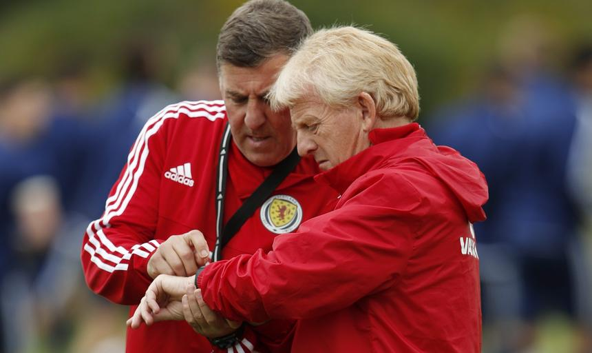 Scotland manager Gordon Strachan and assistant Mark McGhee during training