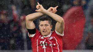 Robert Lewandowski celebrates scoring the 3-0 goal during the German First division Bundesliga football match FC Bayern Munich vs Bayer
