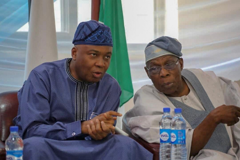 Bukola Saraki with former president, Olusegun Obasanjo. The former president continues to deny that he sought for a tenure elongation in 2006 [Twitter/@babaidris090]