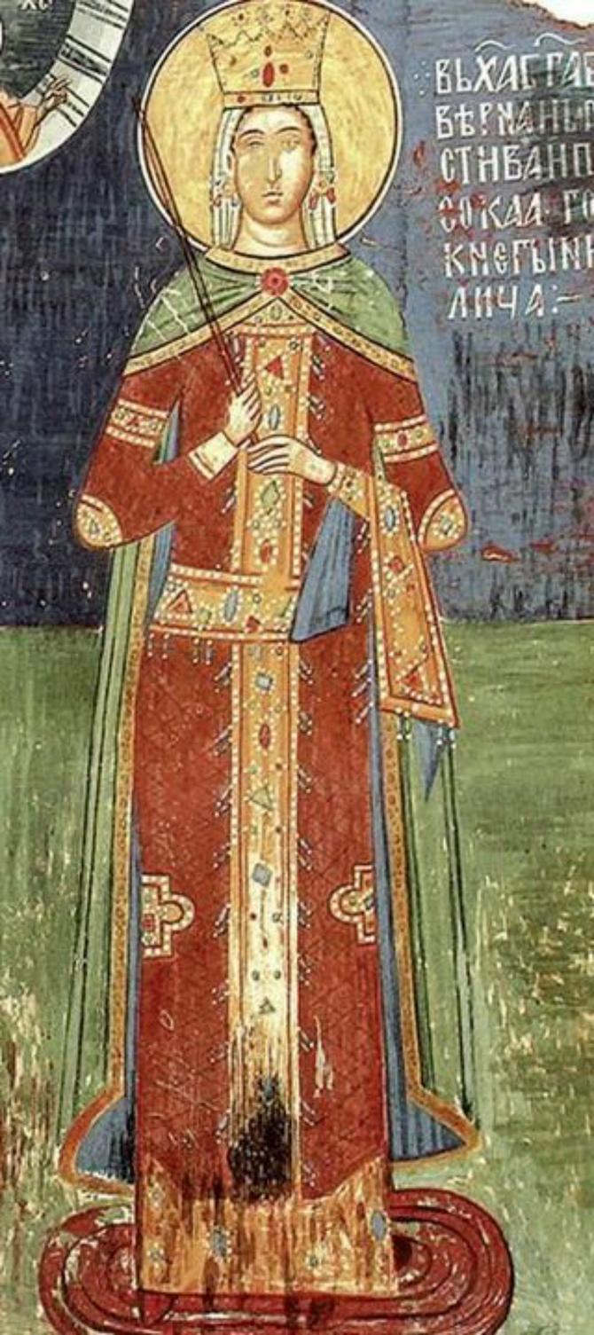 Kneginja Milica, freska iz njene zadužbine, manastira Ljubostinje