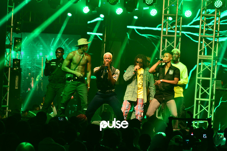 Ghanaian Hip-Hop Collective performing 'Godzilla' at Homecoming 2019. (Pulse Nigeria)
