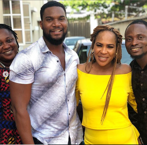 Kunle Remi, Fathia WIlliams, and Jigan Babaoba on the set of 'Rubicon' [Instagram/Jude_works]