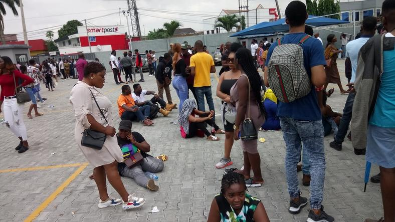 Big Brother Naija hopefuls tired but not deterred to be auditioned in Lagos on Friday, February 1, 2019