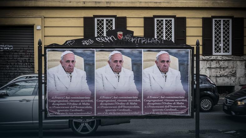 ITALY ANTI POPE PLACARD (An anti-Pope Francis poster in central Rome)