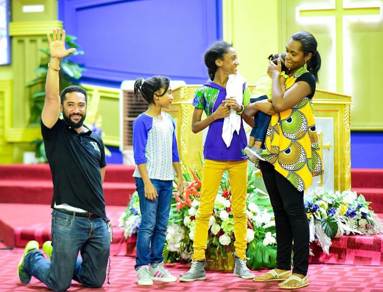 Majid Michel, wife and children