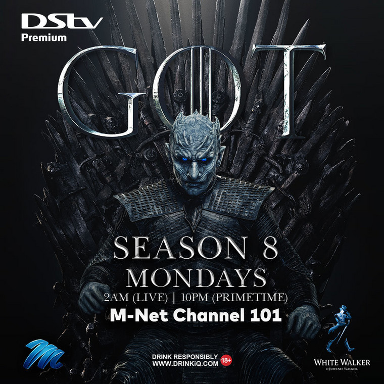 DStv Premium customers can watch #GOT season 8 on MONDAYS at 2am (DSTV)