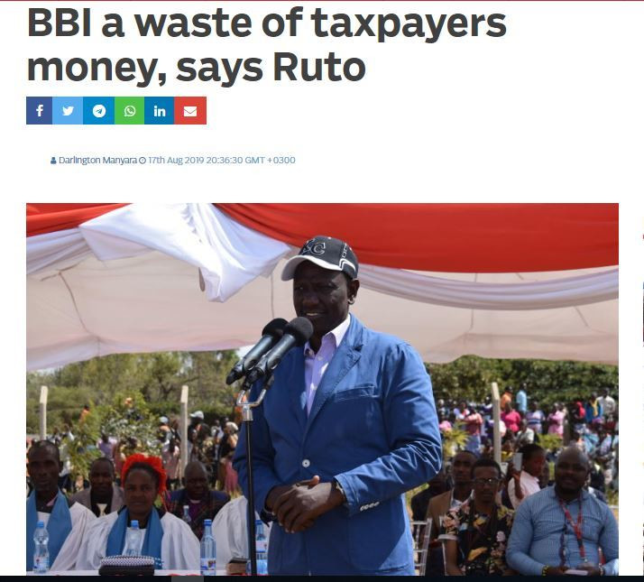 A screenshot of the headline that was faulted by DP Ruto