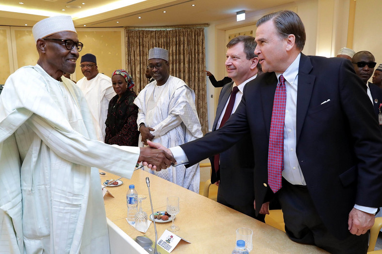US Ambassador to Nigeria H.E. W. Stuart Symington and U.K. Ambassador to Nigeria H.E. Paul Arkwright are received by President Buhari in Aso Rock