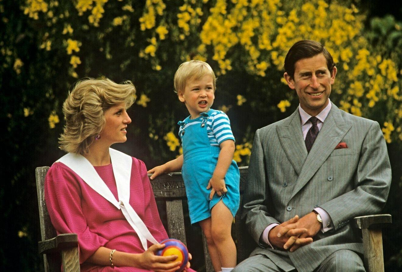 Dajana, Vilijam i Čarls 1985. u kraljevskoj bašti u Londonu